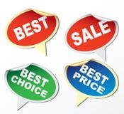 Bäst etiketter -, försäljning, bäst val, bäst pris Arkivbild