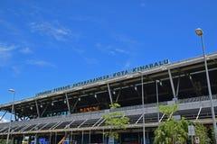 Bästa övreframdelfasadyttersida av Kota Kinabalu International Airport royaltyfri bild