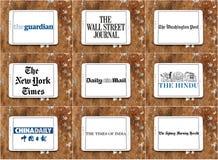 Bästa berömda tidningslogoer och märken Arkivfoton