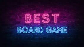Bästa boardgamesneontecken, stor design för några avsikter 3d framf?r modern design Retro emblemdesign Springaneontecken stock illustrationer