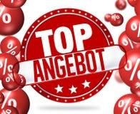 Bästa erbjudande i överkanten Angebot för tyskt språk Arkivfoton
