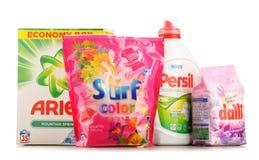Bästa globala tvagningtvättmedelmärken Arkivfoto