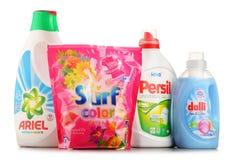 Bästa globala tvagningtvättmedelmärken Arkivbilder