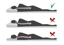 Bästa och värsta positioner för att sova gravida kvinnor, illustration royaltyfri illustrationer