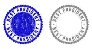 BÄSTA PRESIDENT Textured Stamps för Grunge stock illustrationer