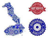 Bästa servicecollage av översikten av Galapagos - Isabela Island och Grungestämplar vektor illustrationer