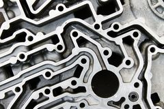 Bästa sida av aluminum delar av motorn Royaltyfri Fotografi