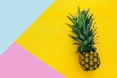 Bästa sikt av ananas på den färgrika tabellen sommar och tropiskt begrepp royaltyfria foton