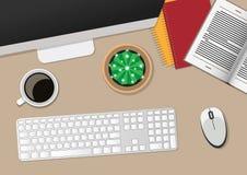 Bästa sikt av arbetsstället med datoren vektor illustrationer