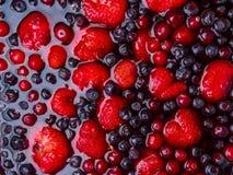 Bästa sikt av blandade geléfrukter jordgubbe, blåbär, tranbär arkivbilder