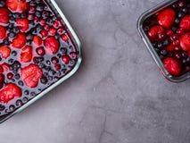 Bästa sikt av blandade geléfrukter jordgubbe, blåbär, tranbär arkivfoton