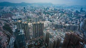 Bästa sikt av bostads- byggnad i Hong Kong arkivbild