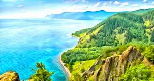 Bästa sikt av de steniga kusterna av en bergsjö i målning royaltyfri illustrationer