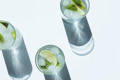 bästa sikt av den Gin Tonic coctailen med limefrukt- och iskuber royaltyfri fotografi