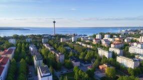 Bästa sikt av den härliga staden Tammerfors arkivfoton