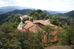 Bästa sikt av den Kiko kloster Cypern Arkivfoto