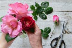 Bästa sikt av den kvinnliga dekoratören som ordnar rosor på trätabellen arkivfoton