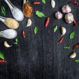Bästa sikt av den matingredienser och smaktillsatsen på tabellen arkivfoto