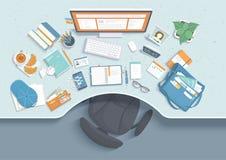 Bästa sikt av den moderna och stilfulla arbetsplatsen Tabell med fördjupningen, stol, bildskärm, böcker, anteckningsbok, hörlurar royaltyfri illustrationer