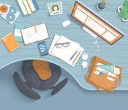 Bästa sikt av den moderna och stilfulla arbetsplatsen Trätabell, stol, kontorstillförsel, bildskärm, böcker, te, donuts, påse vek stock illustrationer