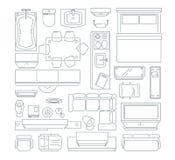 Bästa sikt av den olika möblemanguppsättningen för orienteringen av lägenheten Mono linje bilduppsättning för vektor royaltyfri illustrationer