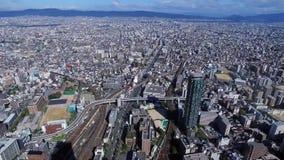 Bästa sikt av den Osaka staden stock video