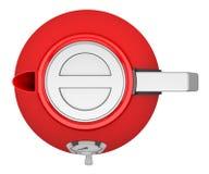 Bästa sikt av den röda elektriska kokkärlet som isoleras på vit royaltyfri illustrationer