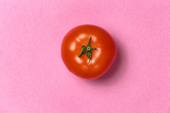Bästa sikt av den röda tomaten på en rosa bakgrund Royaltyfri Fotografi