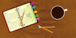 Bästa sikt av den realistiska arbetsskrivbordorganisationen Arkivbild