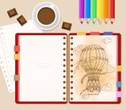 Bästa sikt av den stationära anteckningsbok- och kaffekoppen med choklad- och kopieringsutrymme på neo memphis ljus bakgrund Royaltyfri Fotografi