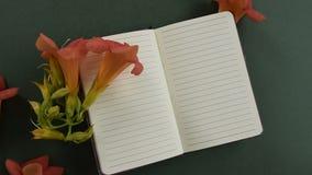 Bästa sikt av den tomma brevpapper med nya blomningblommor stock video