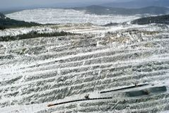 Bästa sikt av det mineraliska bryta avsnittet arkivfoto