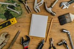 Bästa sikt av DIY-hjälpmedel Arkivfoto