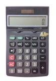 Bästa sikt av Dusty Black Digital Calculator Isolated på vit bakgrund med den snabba banan Fotografering för Bildbyråer