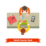 Bästa sikt av en detaljhandelsrea Kontorist och kund vektor illustrationer