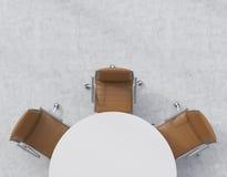 Bästa sikt av en halva av konferensrummet En vit rund tabell, tre bruna läderstolar Abstrakt 3d framförde inomhus utrymme Arkivbild