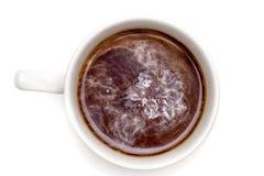 Bästa sikt av en kopp kaffe, isolat på vit Arkivfoton