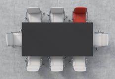 Bästa sikt av ett konferensrum En svart rektangulär tabell och åtta stolar omkring, ett av dem är röda Abstrakt 3d framförde inom Royaltyfria Bilder