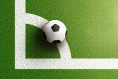 Bästa sikt av fotbollbollen på hörnbåglinje av fotbollfältet Royaltyfria Foton