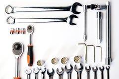 Bästa sikt av funktionsdugliga konstruktions- och mekanikerhjälpmedel, skiftnyckel, socke Arkivfoto