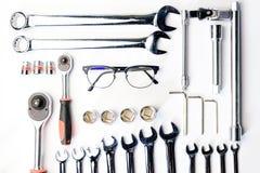 Bästa sikt av funktionsdugliga konstruktions- och mekanikerhjälpmedel, skiftnyckel, socke Royaltyfria Foton