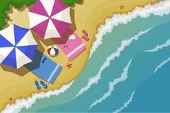 Bästa sikt av havsstranden Stock Illustrationer
