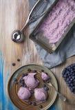 Bästa sikt av hemlagad blåbäricecream i en platta med chocol arkivbilder