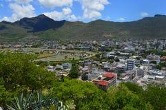 Bästa sikt av huvudstaden av Mauritius, Port Louis Arkivbild