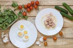 Bästa sikt av ingredienser för sund och allsidig tonfisksallad royaltyfri bild