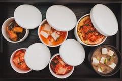 Bästa sikt av japansk traditionell mat Arkivfoto