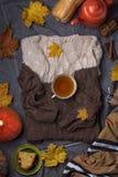 Bästa sikt av kopp te, den söta kakan, höstsidor och den varma tröjan arkivfoton
