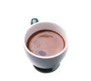 Bästa sikt av koppen för svart kaffe som isoleras på vit Royaltyfri Bild