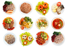 Bästa sikt av många plattor med mat royaltyfri foto