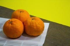 Bästa sikt av mandariner Arkivbild